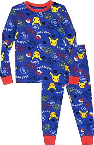 Boys Pokemon Pjs Cotton Nightwear Pikachu Kids Pyjamas