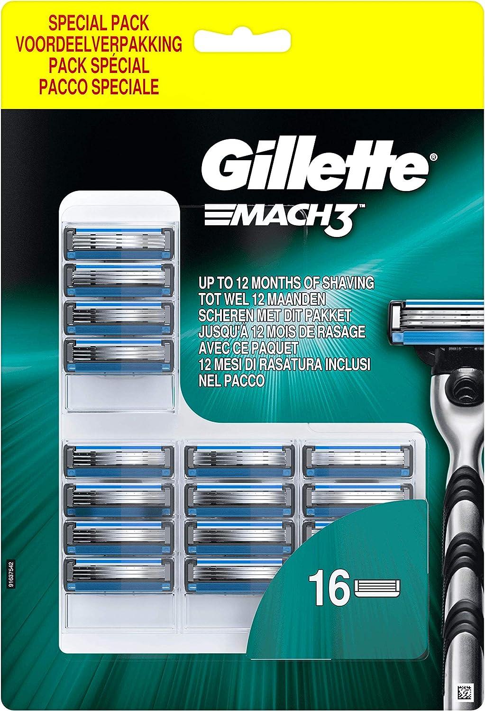Gillette Mach3 Cuchillas de Afeitar para Hombre - 16 unidades