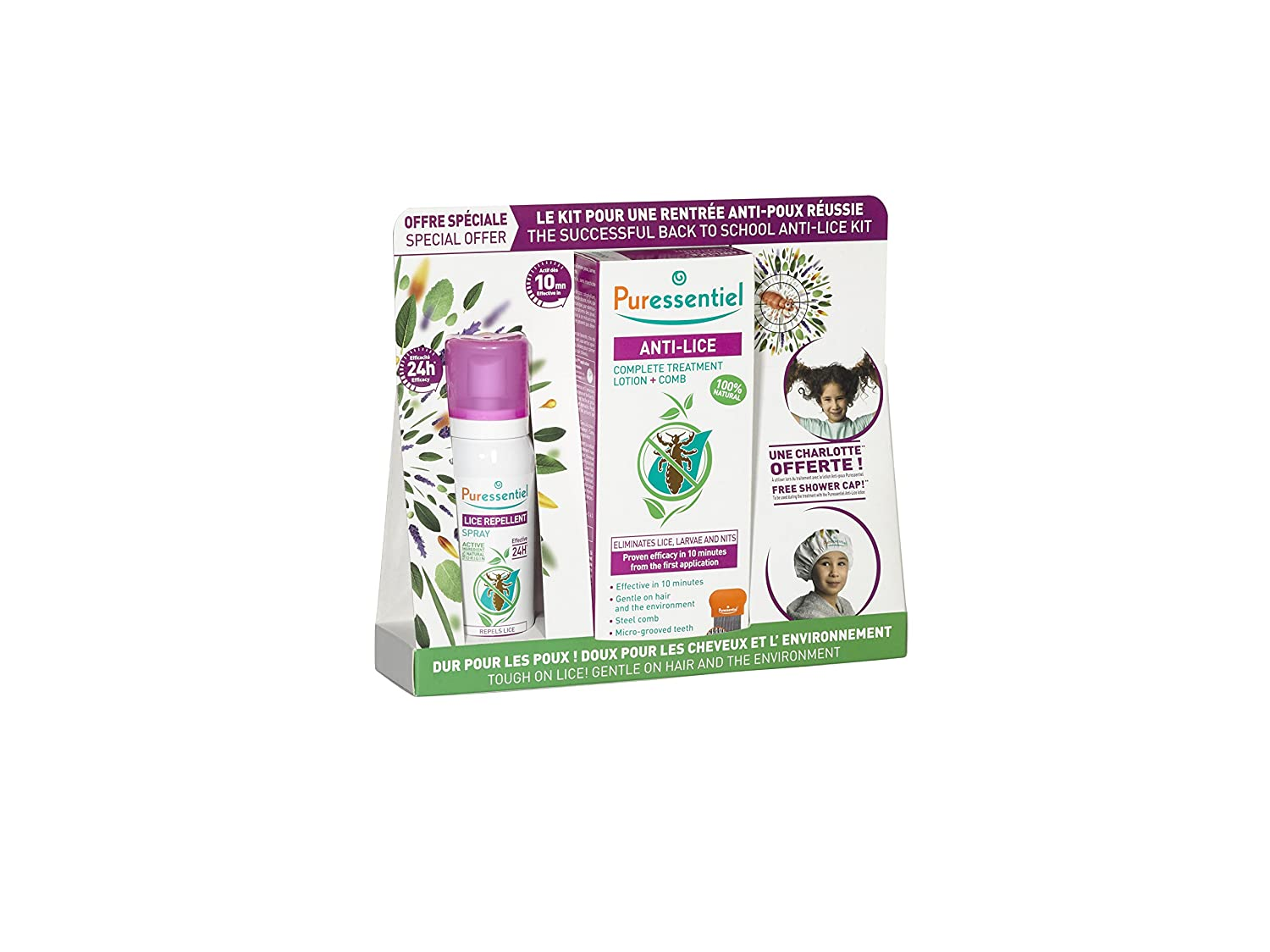 Puressentiel Anti-Lice Kit - Treatment Lotion with Comb 100ml, Lice Repellent Spray 75 ml, Free Shower Cap - Head Lice kit, 100% natural origin, proven efficacy in 10 minutes, micro-grooved comb USP9110