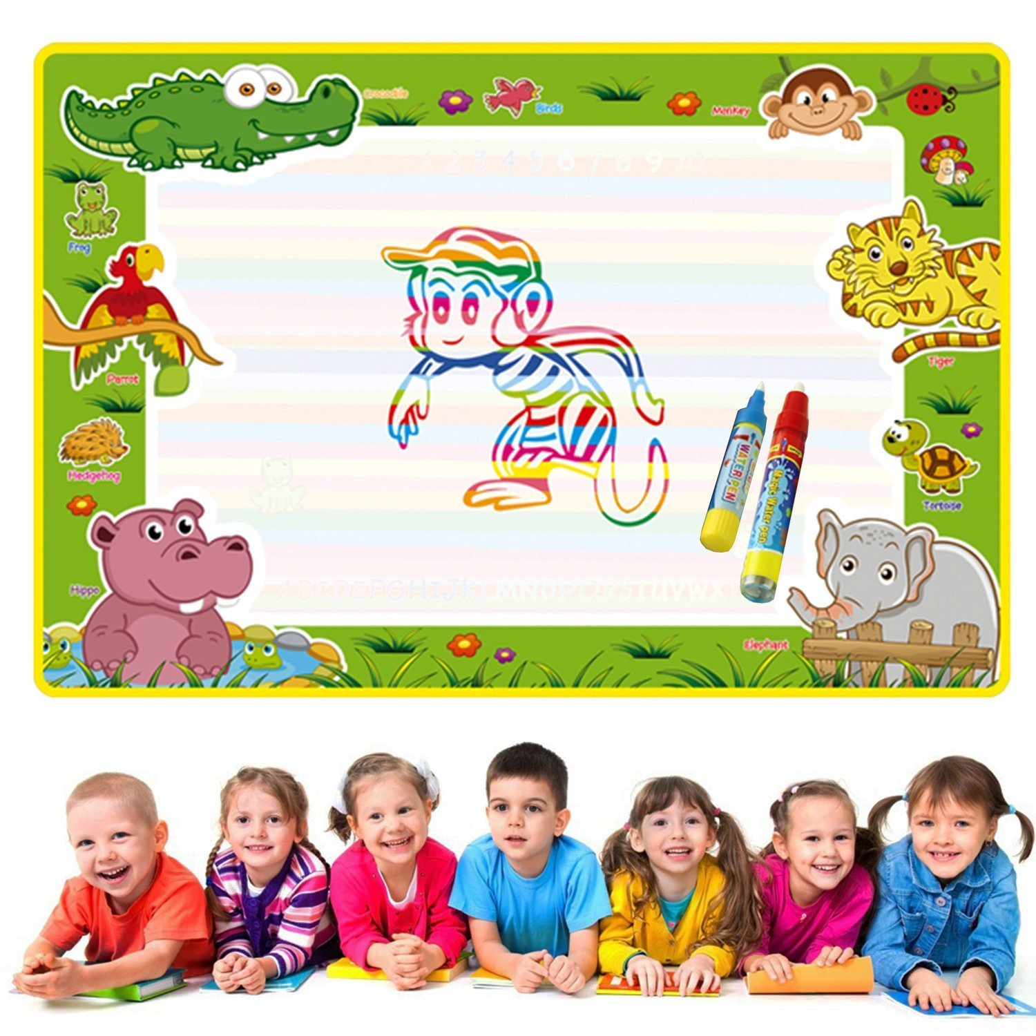Dorras Large Aqua Doodle Mat, Magic Water Drawing Mat Painting Writing Doodle Pad Board & 2 Pen Develop Intelligence Learning Educational Toy Gift for Boys Girls Toddlers Kids Children 28.3'' x 18.9''