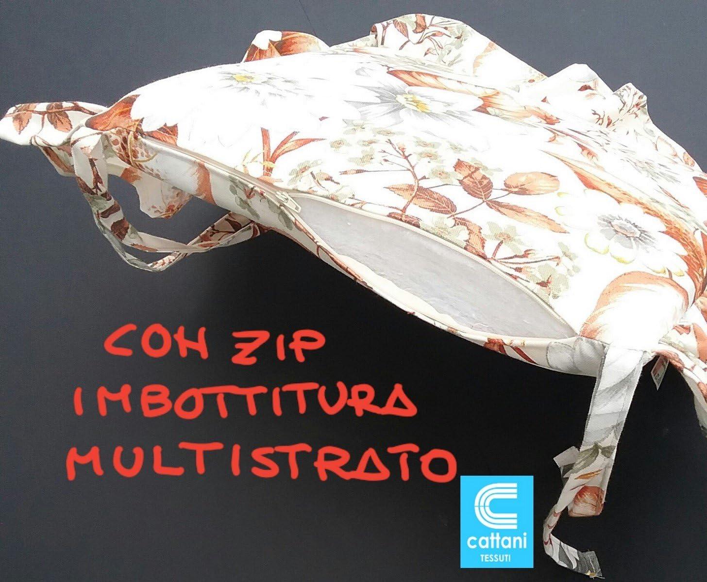 Imbottitura Multistrato- con Volant VAR.2A con Laccetti mauro Cuscini SEDIE Cucina con Zip Set 4 Pezzi Misura 39X39X5 Cm Tessuto 100/% Cotone Pesante