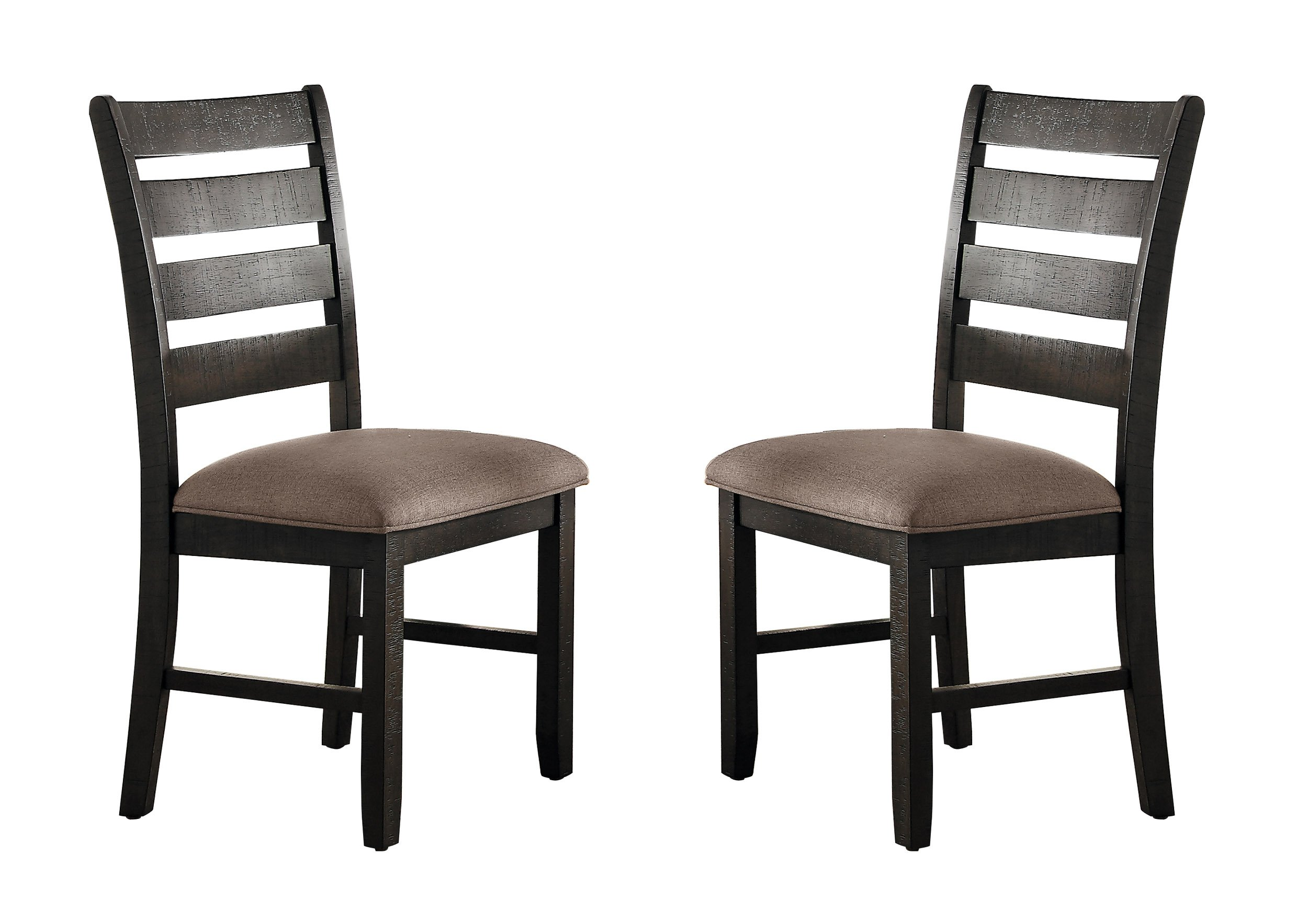Homelegance Stevensville Set of 2 Rustic Ladder Back Dining Chairs, Dark Brown