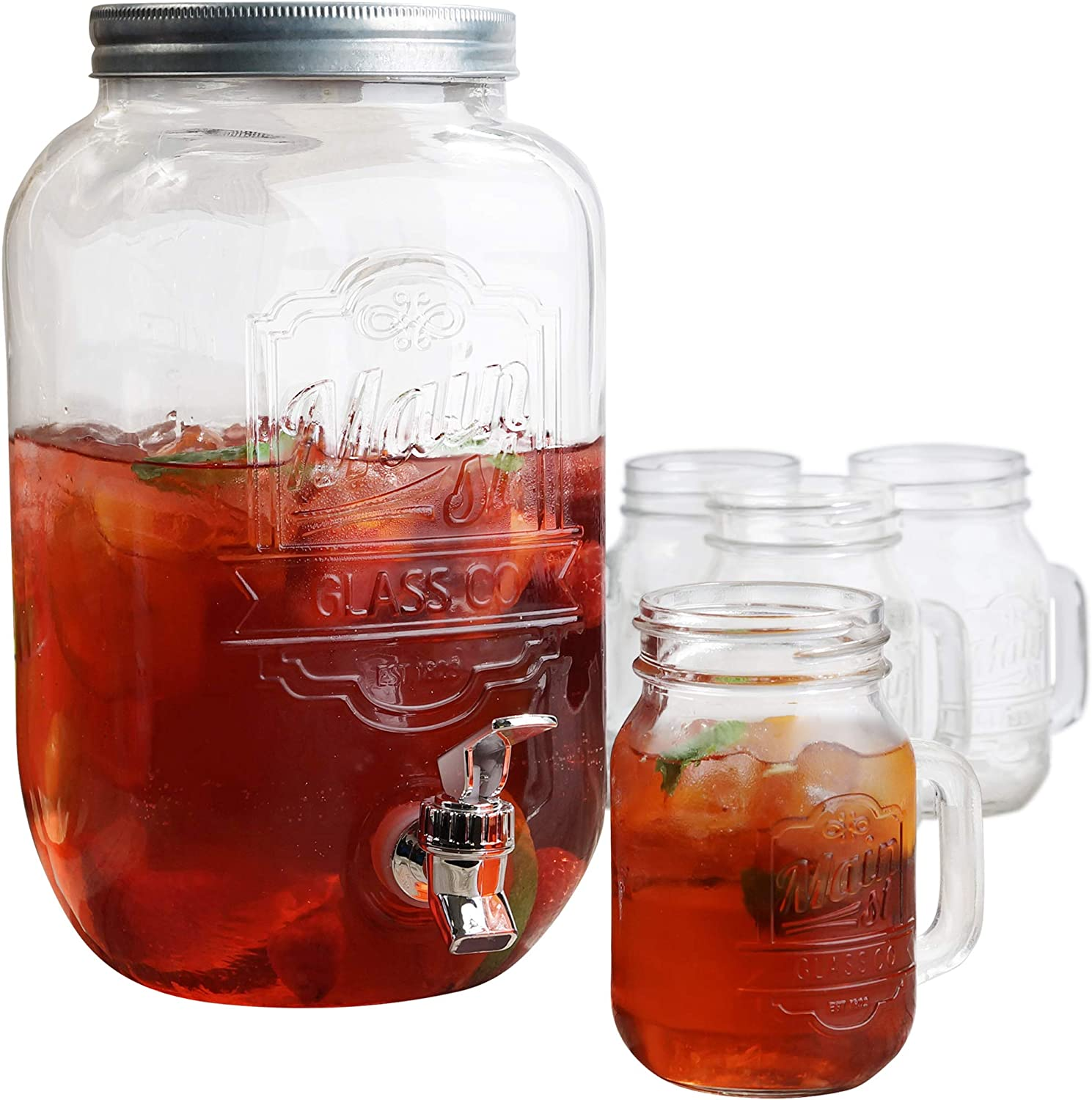Style Setter Hand Jay Imports Beverage Set-Dispenser (2 Gallon)/ 4 Mason Jar Mugs With Handle, Clear