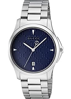 c4a80775361 Gucci Mens Analogue Classic Quartz Watch with Stainless Steel Strap  YA1264025