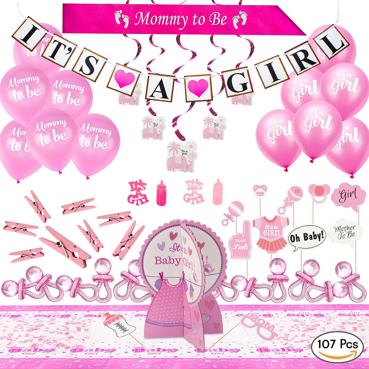 ARTIT Baby Shower Girl Pink Party Decoration Set BIGGEST 107 PCS Bundle Kit Favors - Banner Balloons Mommy to Be Sash Elephant Swirls Big Pacifiers Centerpiece Tablecloth Photo Booth Props Clothespins