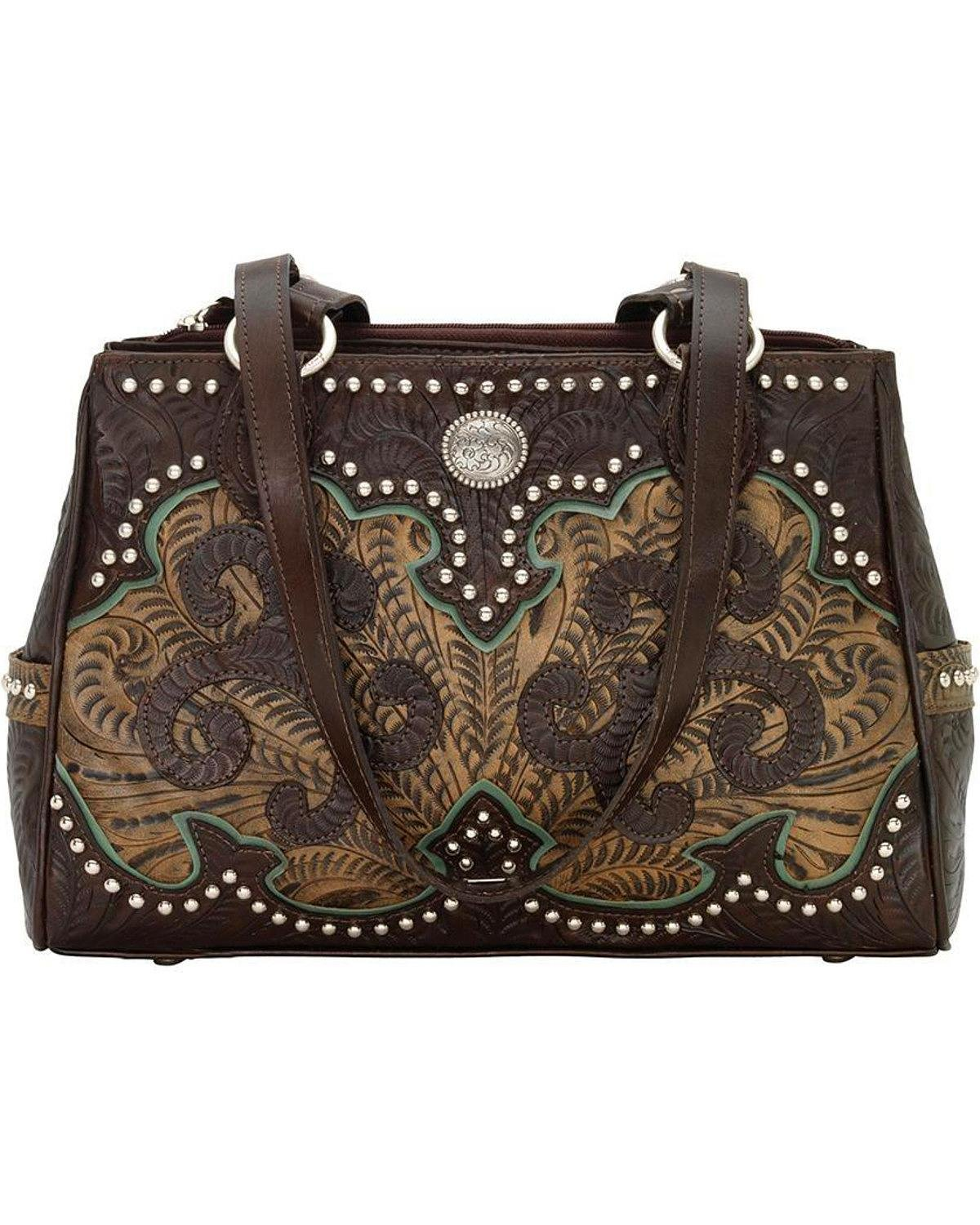 American West Women's Hand Tooled Concealed Carry Multi-Compartment Tote Chocolate One Size