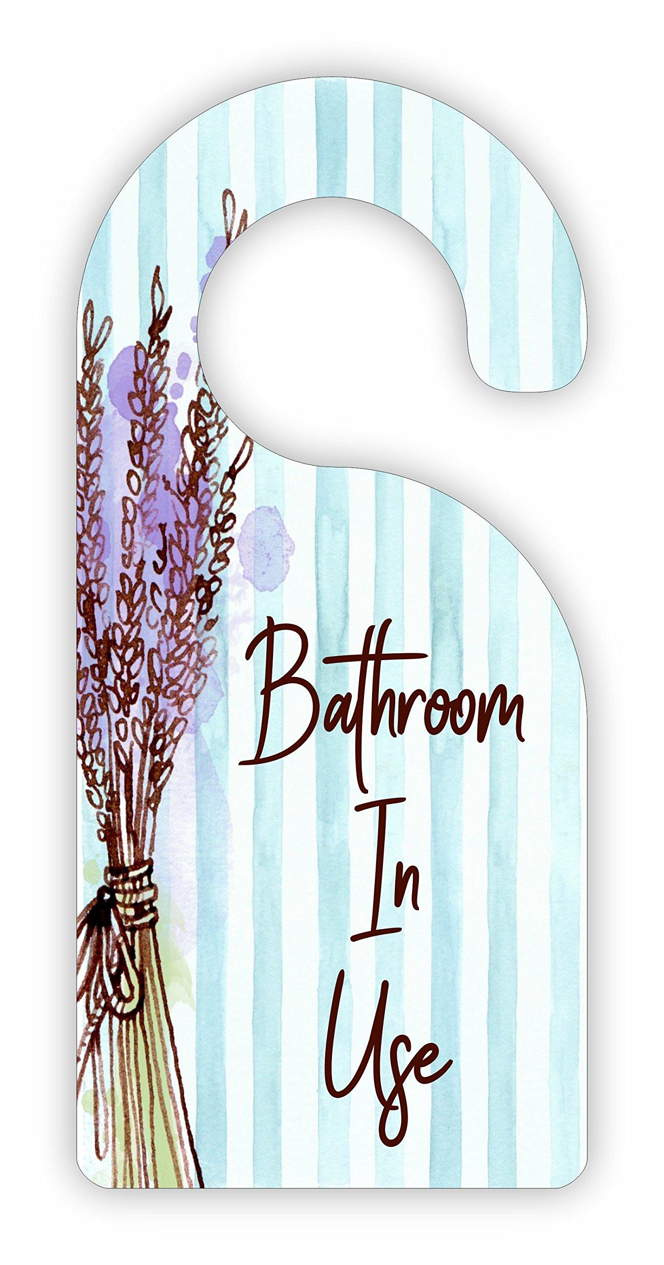 Bathroom in Use Room Door Sign Hanger - Hardboard - Glossy Finish
