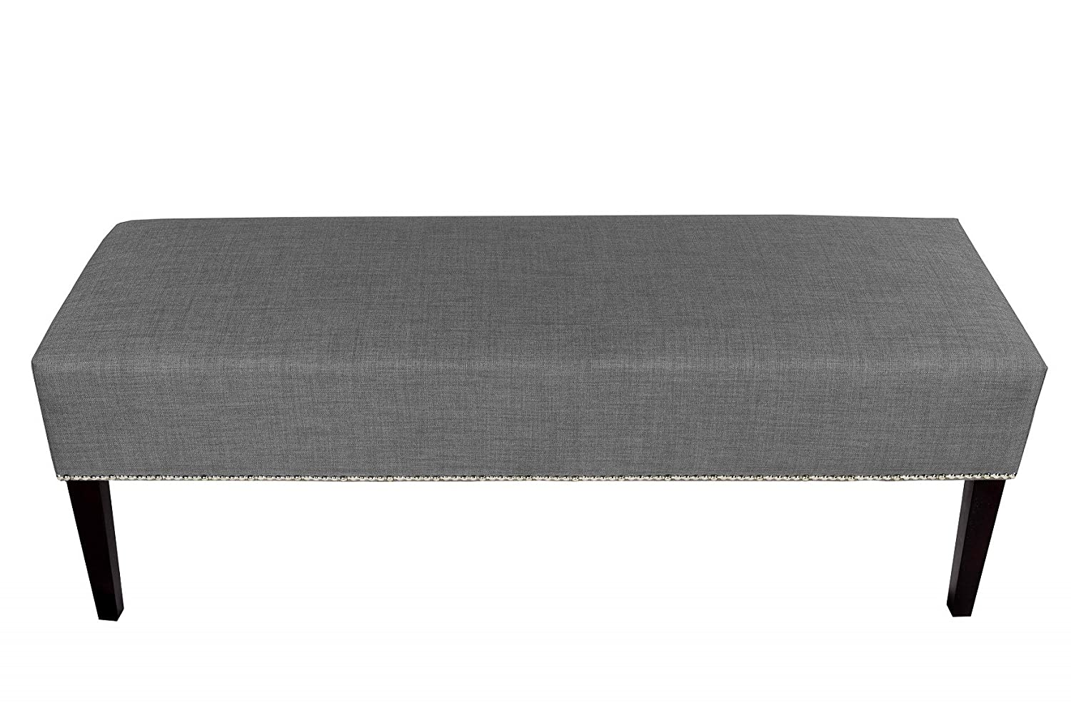 MJL Furniture Designs Roxanne Collection Padded Upholstered Bedroom Accent Bench, HJM100 Series, Dark Gray