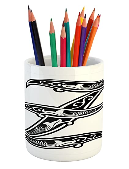 Ambesonne Letter Z Pencil Pen Holder, Gothic Design Elements From Early  Middle Ages Alphabet Last