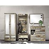 Stella Trading BZDD643080 Garderobenset mit Spiegel, Holz, braun, 274 x 189 x 40 cm