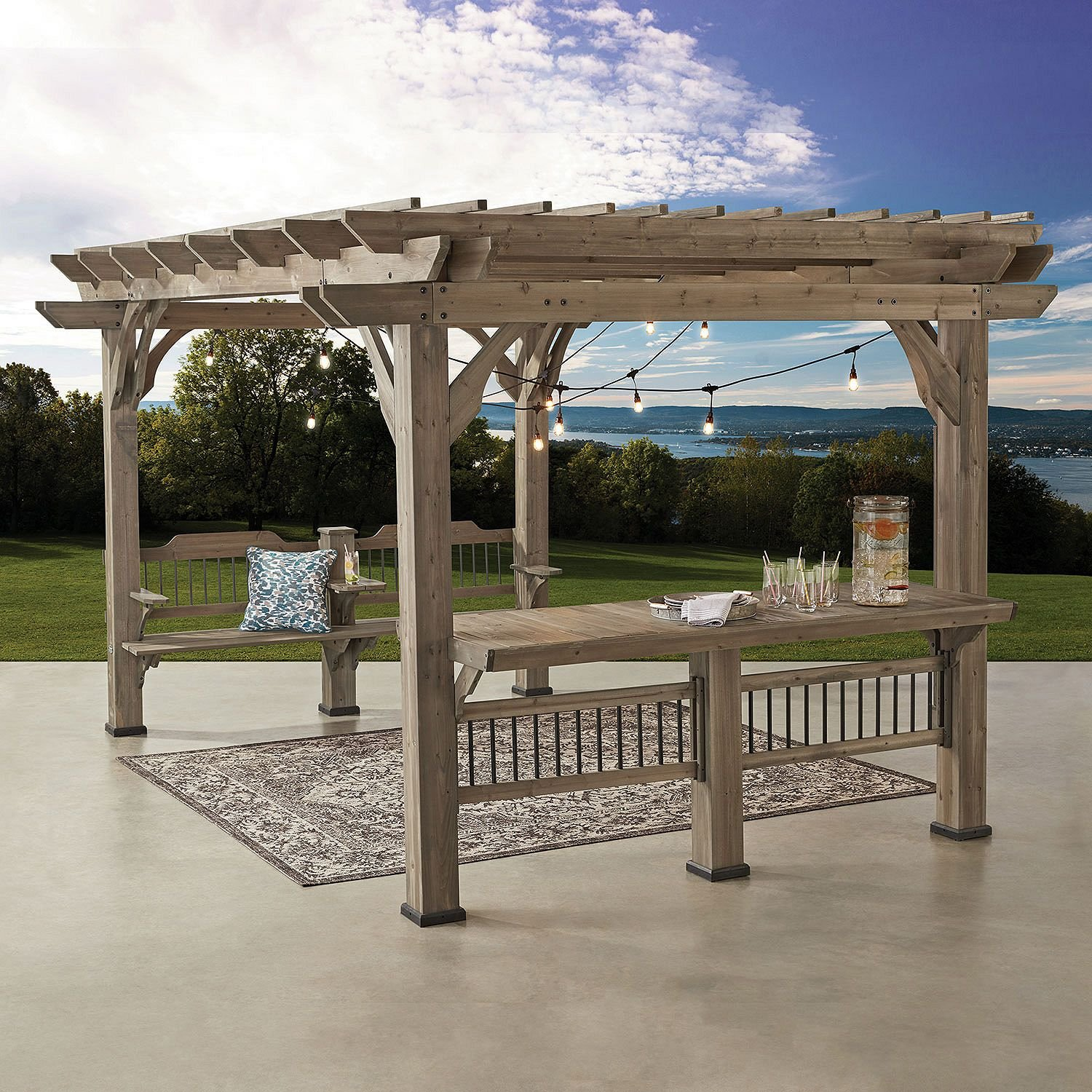 Large Wooden Outdoor Cedar Pergola with built in Benches and Bar 14FT x 10FT Kit. Has Electrical outlets for convenience. Complete Entertaining Center.