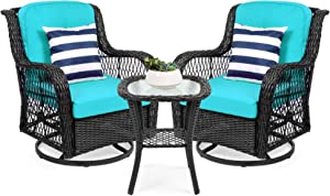 Best Choice Products 3-Piece Outdoor Wicker Patio Bistro Set w/ 2 360-Degree Swivel Rocking Chairs and Tempered Glass Top Side Table - Teal