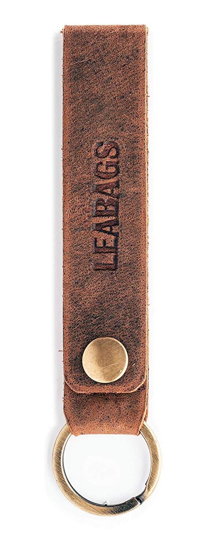 Vintage Look echtes Leder LEABAGS Lewes 1901 Schl/üsselanh/änger Damen /& Herren Braun