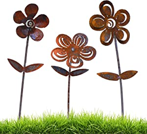 California Home and Garden CS03 Metal Rustic Rust Set of 3 Flowers Décor, 20 Inch Long, Brownish Red