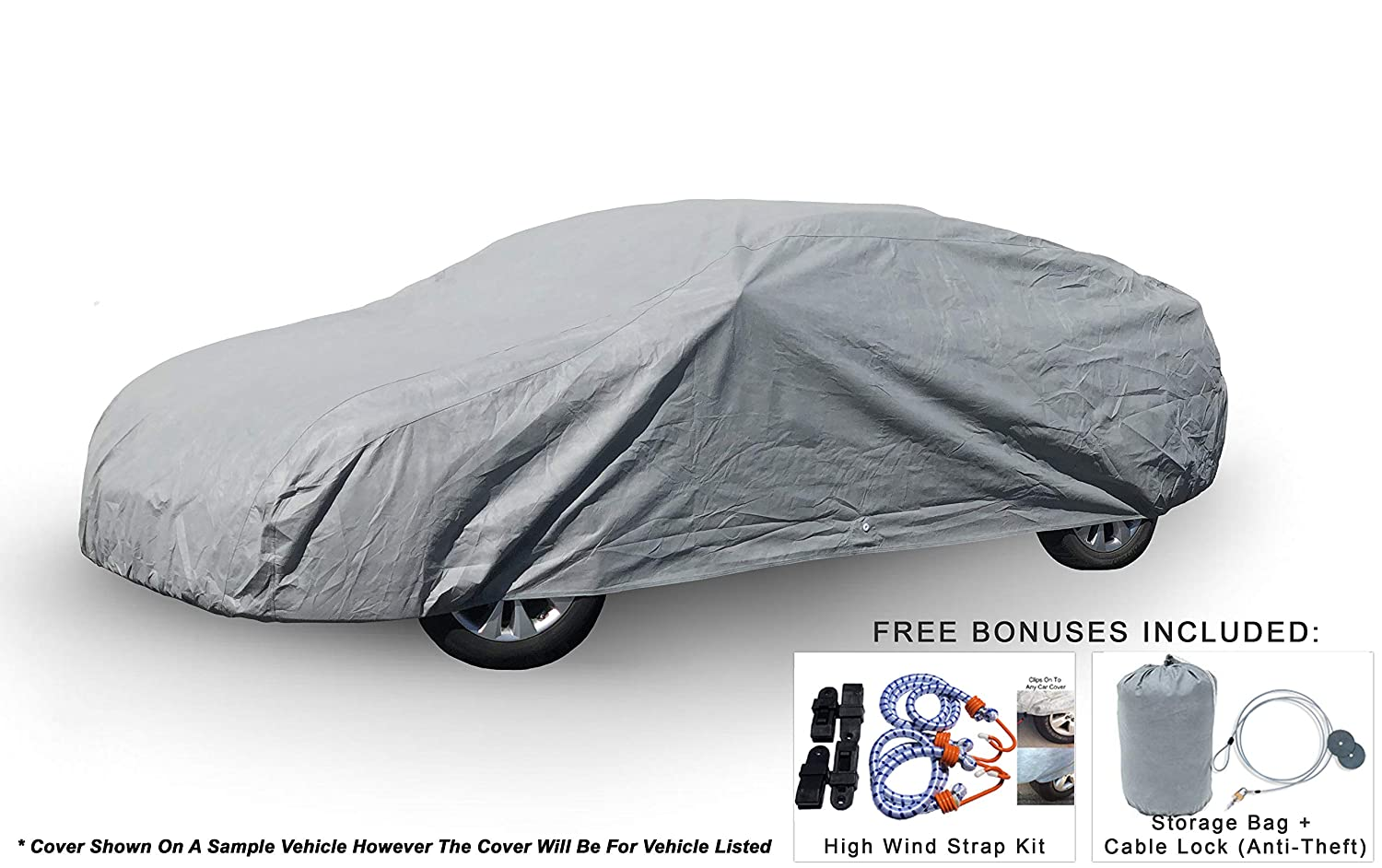 Weatherproof Car Cover Compatible with Alfa Romeo Giulia 2017-2019 - 5L Outdoor & Indoor - Protect from Rain, Snow, Hail, UV Rays, Sun - Fleece Lining - Anti-Theft Cable Lock, Bag & Wind Straps