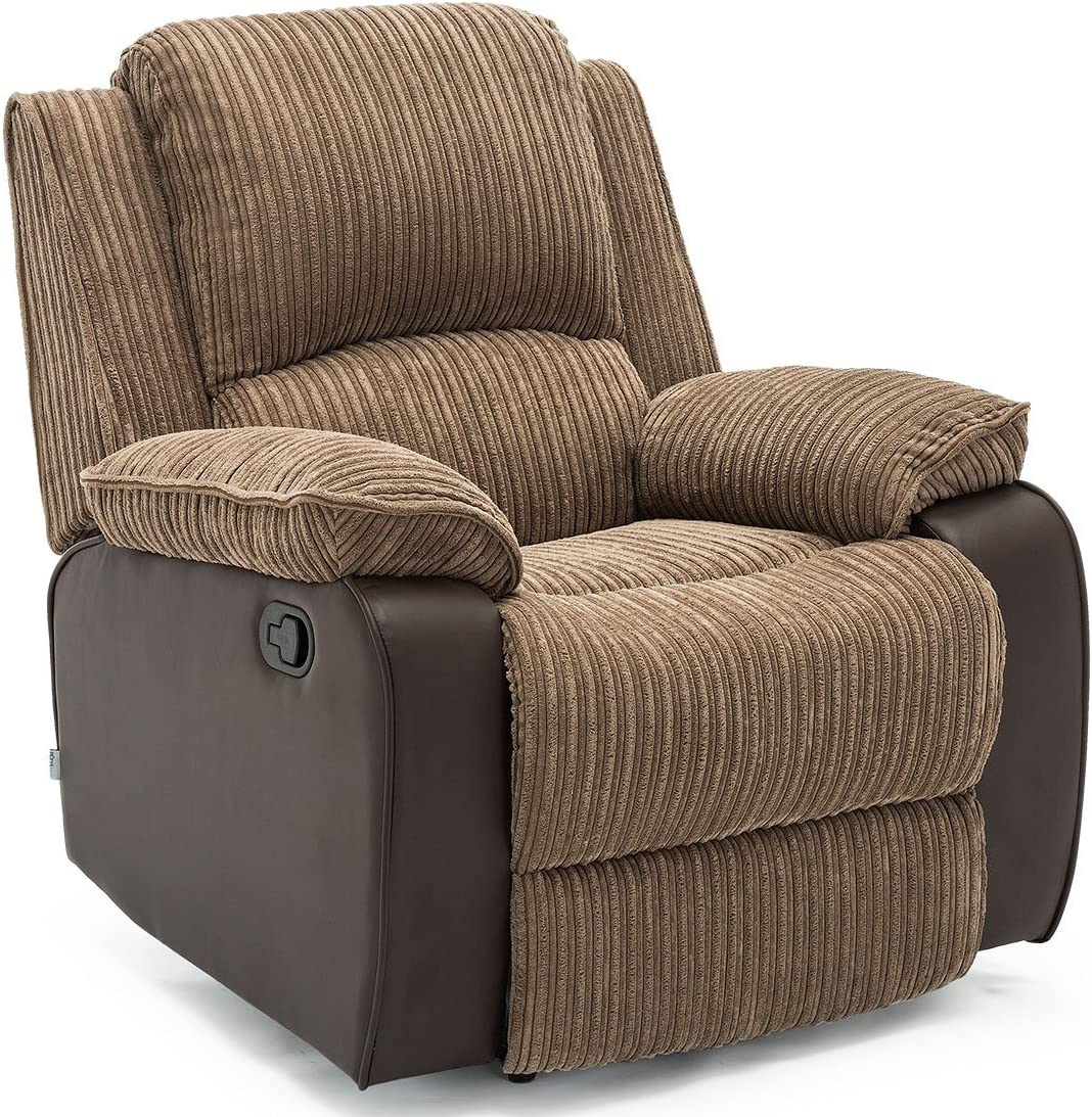 POSTANA Jumbo Cord Fabric Recliner Armchair