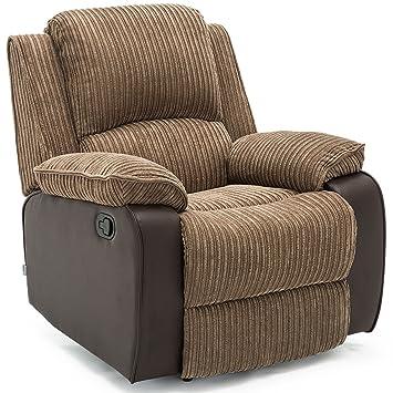 112e51bc403 POSTANA Jumbo Cord Fabric Recliner Armchair Sofa Lounge Home Reclining Chair  (Brown)