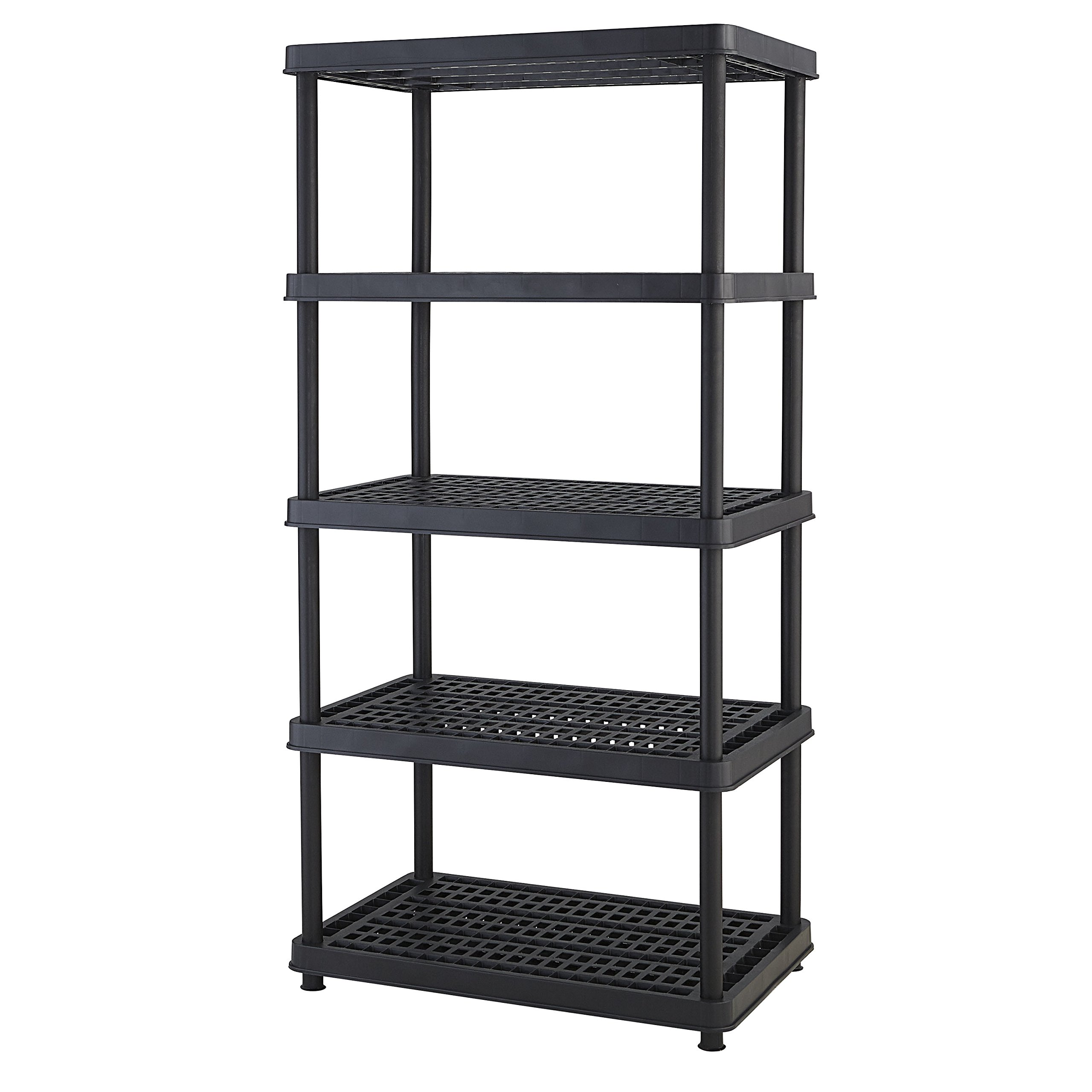 Keter 5-Shelf Heavy Duty Utility Freestanding Ventilated Shelving Unit Storage Rack, Black by Keter