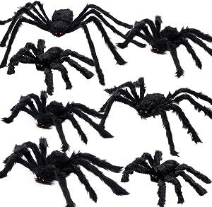 AOJOYS Halloween Spider Decorations Outdoor 7 PCS, Realistic Gaint Spider Halloween Party Decorations, Hairy Large Halloween Spider Set for Indoor, Outdoor & Yard Decorations