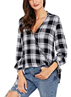 Astylish Women Casual Plaid V Neck 3 4 Long Sleeve Blouses and Tops Shirts