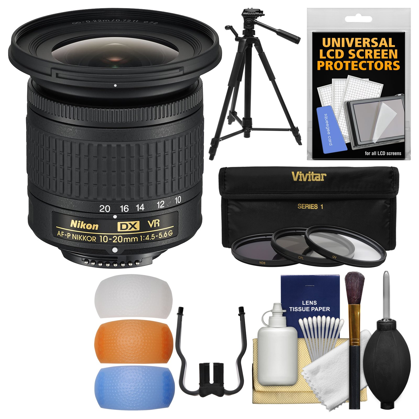 Nikon 10-20mm f/4.5-5.6G DX AF-P VR Zoom-Nikkor Lens with 3 UV/CPL/ND8 Filters + Tripod + Flash Diffusers + Kit