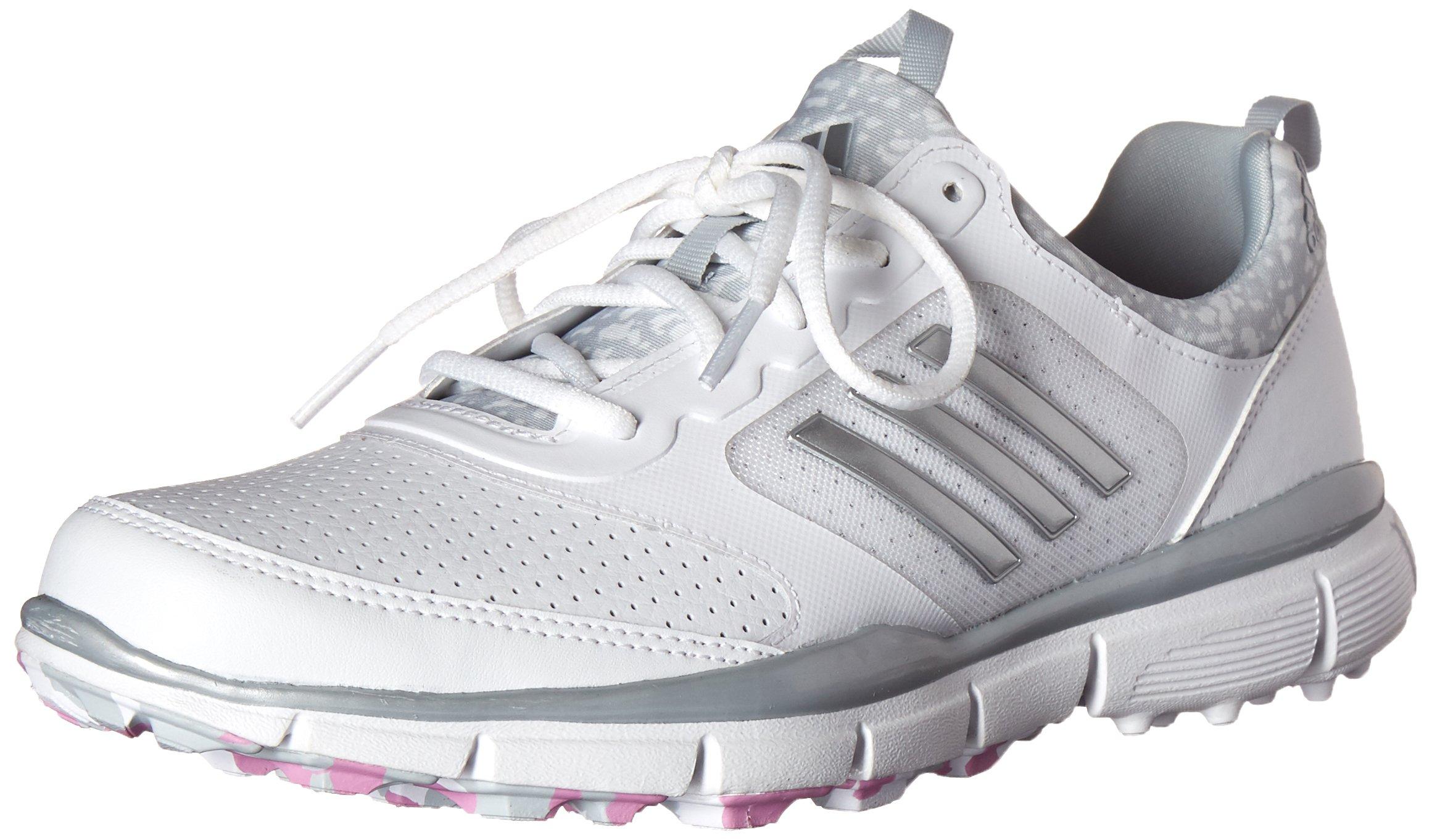 adidas Women's W Adistar Sport Golf Spikeless, FTWR White/Matte Silver/Wild Orchid-TMAG, 7.5 M US