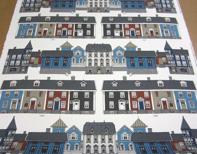 Schwedische stoffe  Stoff Meterware Baumwolle Schweden Haus Häuser blau weiß Stadt ...