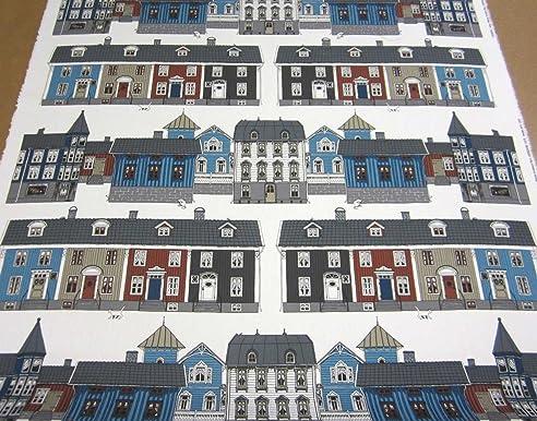 Schwedische gardinen stoffe  Stoff Meterware Baumwolle Schweden Haus Häuser blau weiß Stadt ...