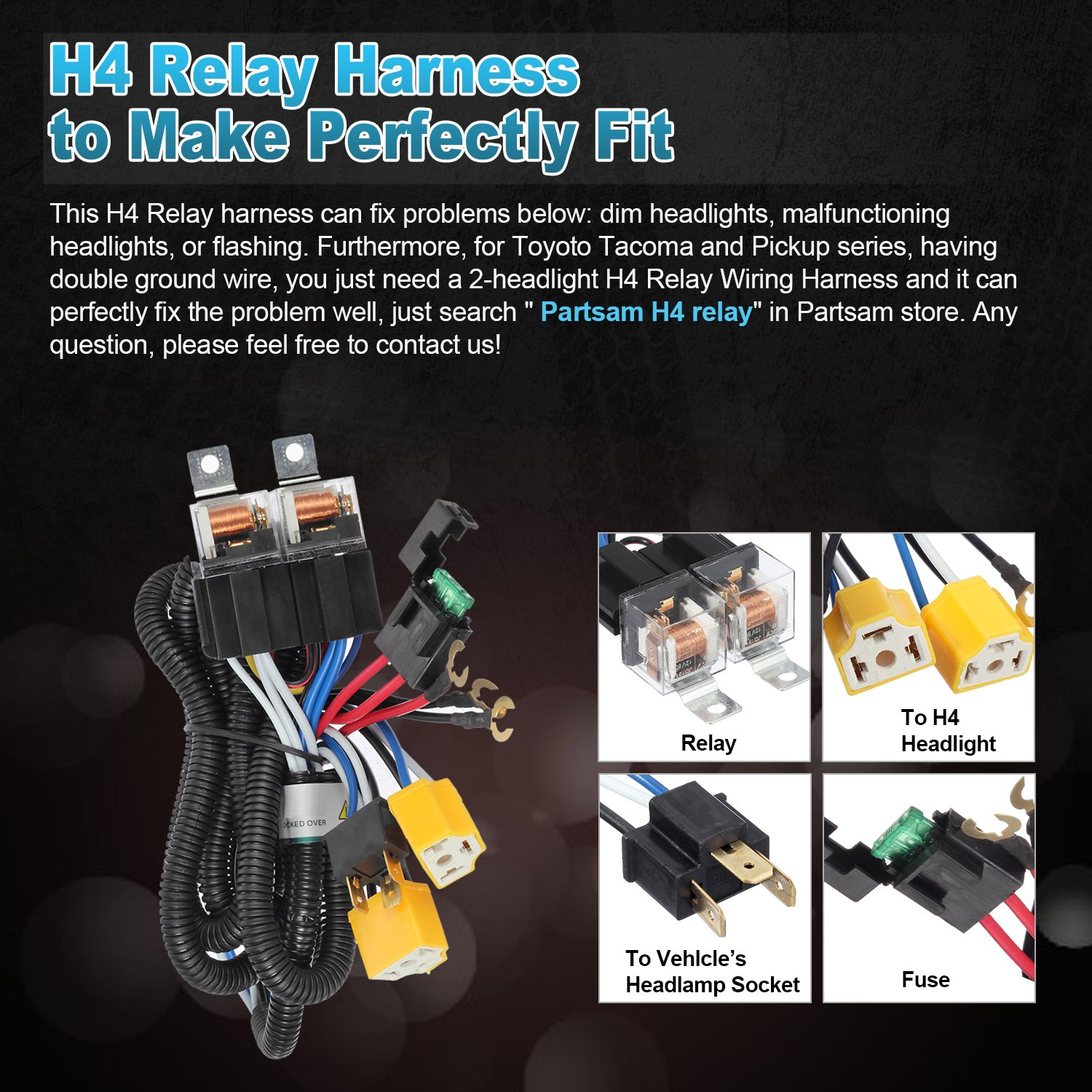 Partsam 2pcs Rectangle H6054 Led Headlights 5x7 7x6 Headlamp Hi Low Chevy Wiring Harness Problems Sealed Beam Replacement For S10 Blazer Express Van H4 9003 Plug 6054 H5054 Jeep