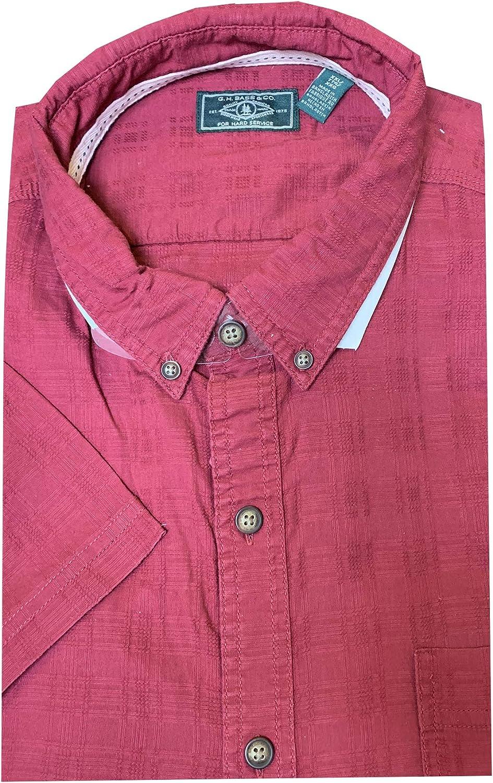 for Hard Service Mens Short Sleeve Button Down Shirt Bass /& Co G.H