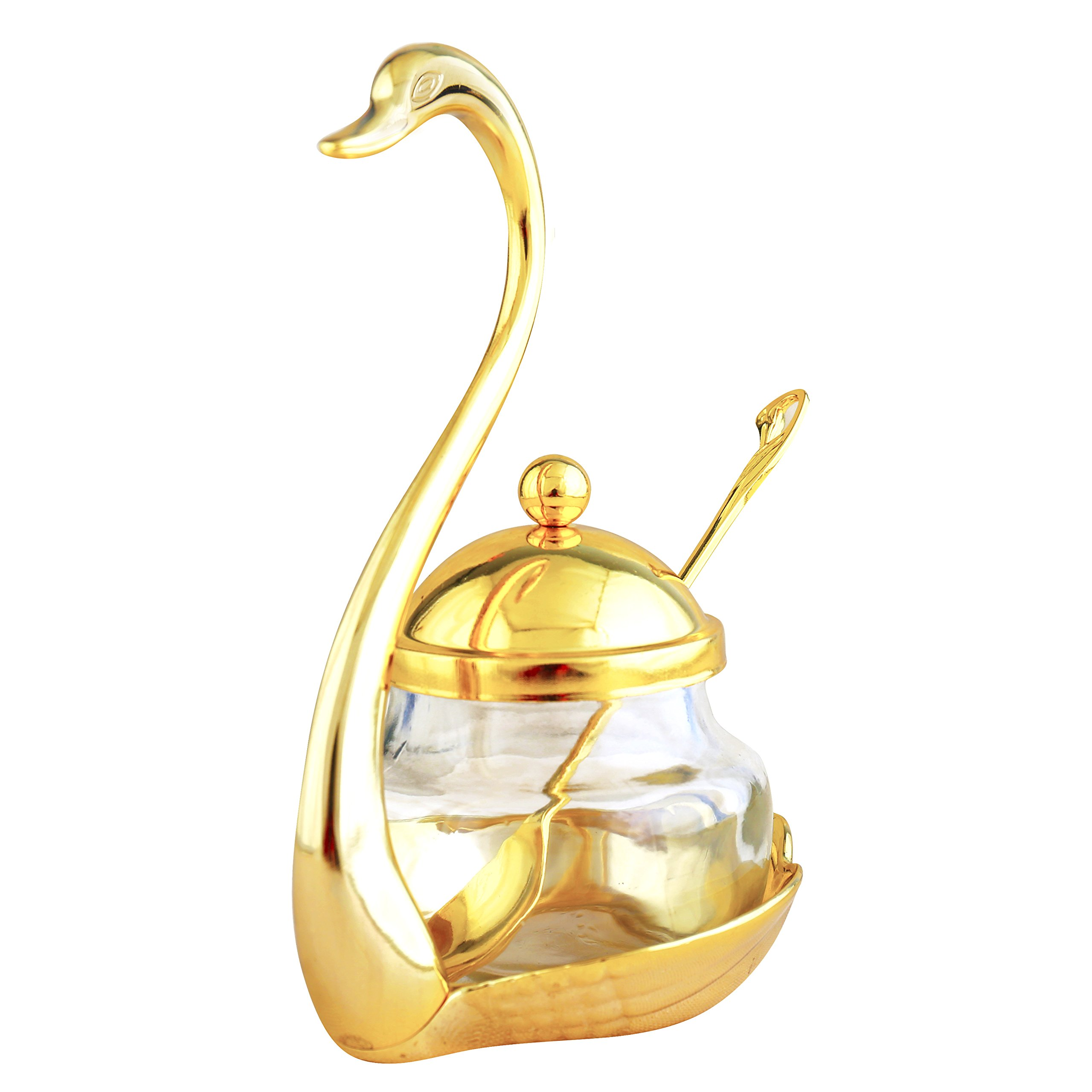 Condiment Pots with Lids and Spoons,FANGZHIDI Gold Swan Seasoning Container Canister Storage Organizer Jar Sugar Bowl Cup with Stainless Steel Holders for Coffee Berry Jam Syrup Cream Spice Salt