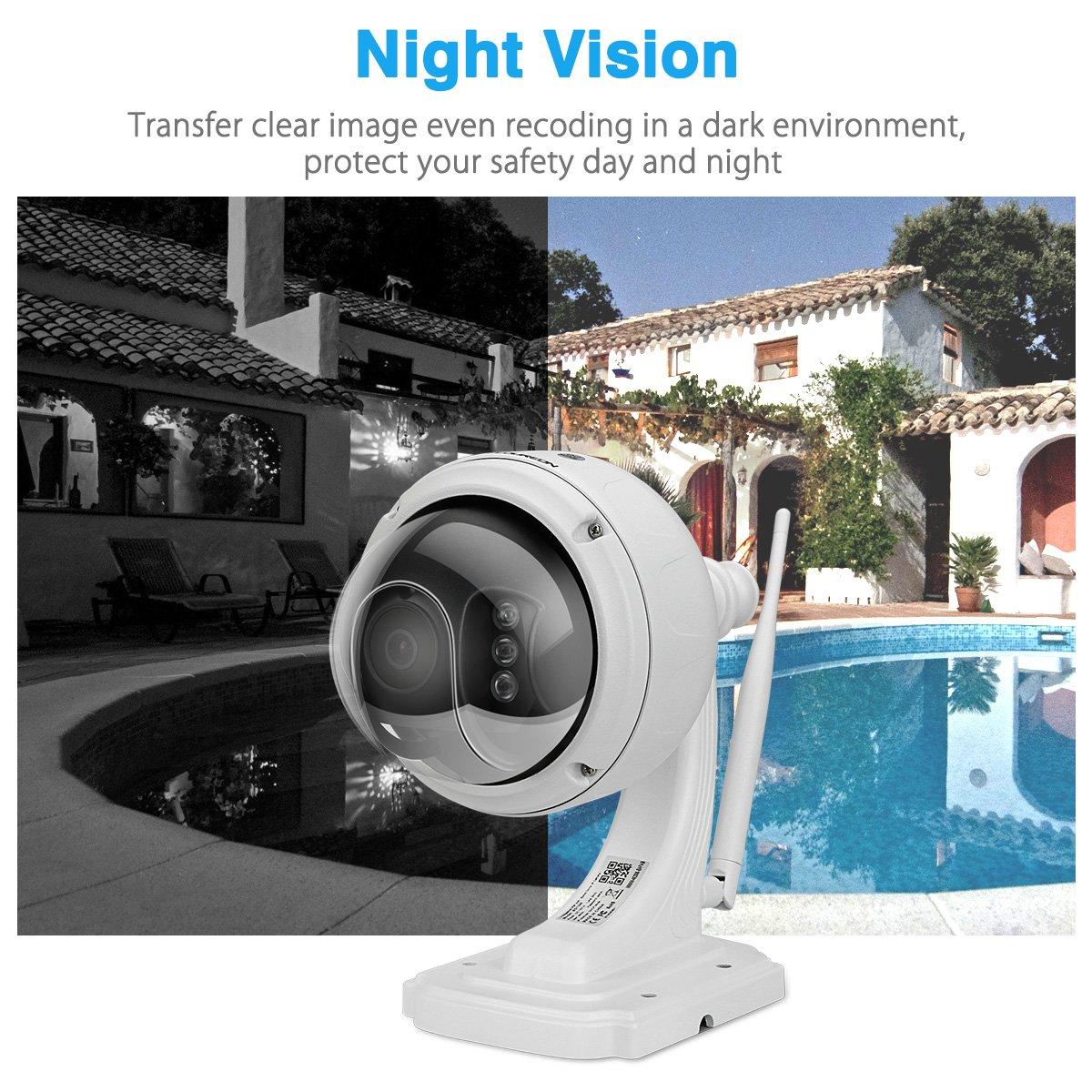 FLOUREON WIFI IP Camera 960P Wireless HD H.264 Waterproof CCTV Security PT Camera with Built-in Mic 355°Pan/ 90°Tilt, Alarm Recording, Night Vision, Micro SD Card Slot