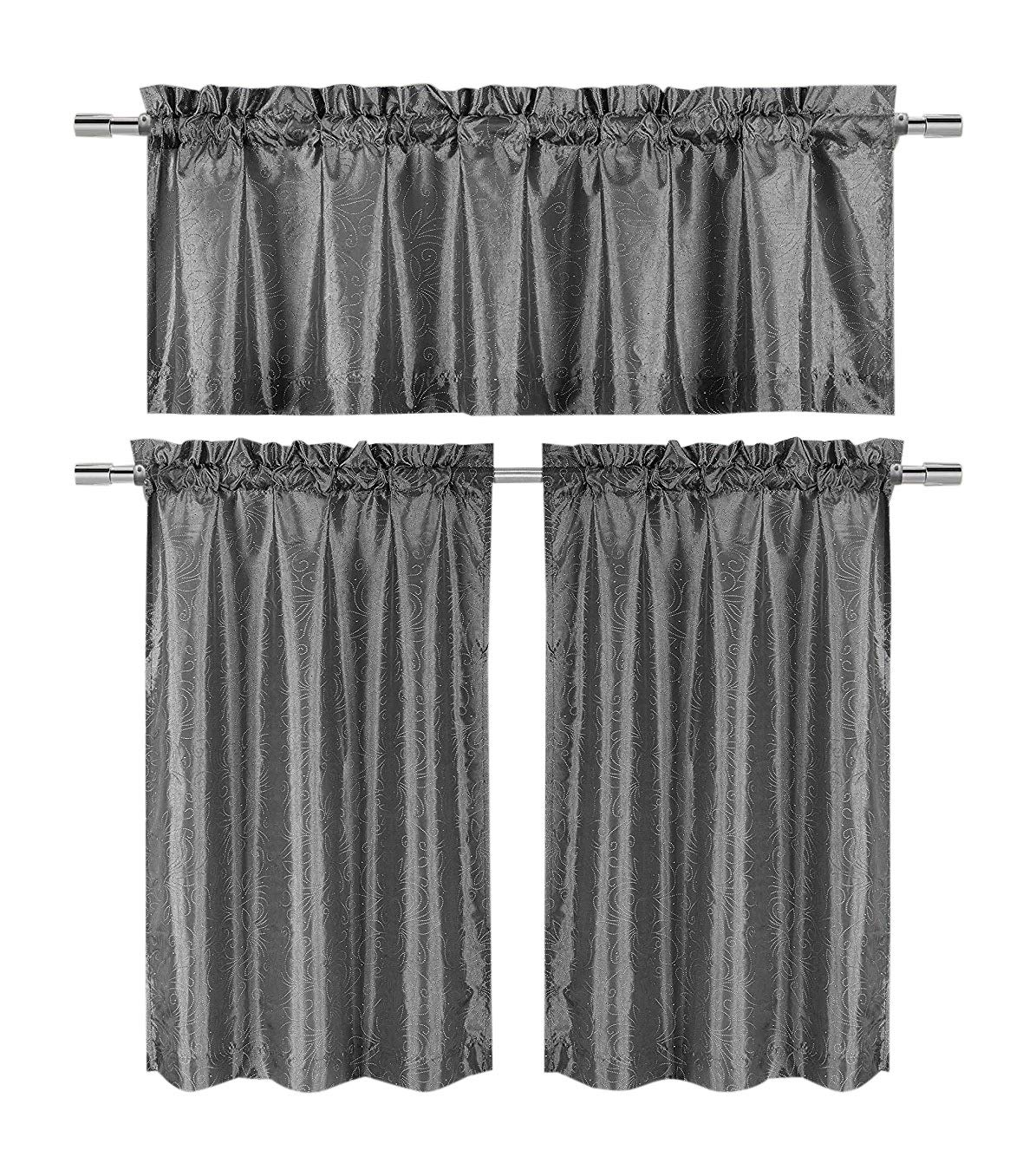 3 Pc Kitchen Window Curtain Set: Faux Silk, Raised Pin Dots, Floral Design (Gray)