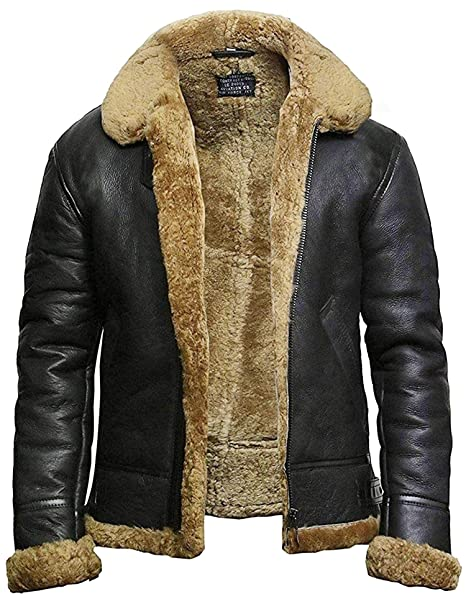many styles many styles new authentic BRANDSLOCK Mens Genuine Shearling Sheepskin Leather Bomber Pilot Aviator B3  WWII Flying Cockpit Jacket Thick Wool Inside/Inner