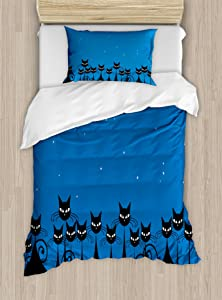 Ambesonne Night Duvet Cover Set, Graphic Crowd of Black Cats and Starry Sky on The Backdrop, Decorative 2 Piece Bedding Set with 1 Pillow Sham, Twin Size, Black Blue
