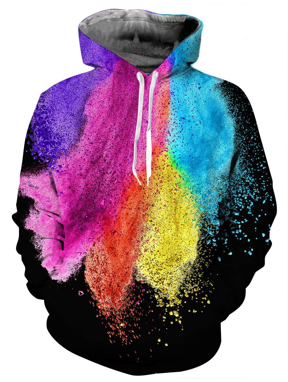 TUONROAD Mens Trendy Drawstring Trippy 3D Digital Print Hoodies Shirt Rainbow Black Purple Turquoise Yellow Red Pink Paint Color Block Realistic Sweatshirt Athletic Pullover with Big Pocket Front