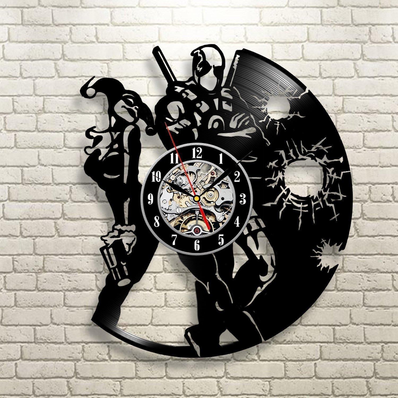Deadpool Vinyl Record Clock Wall Art Home Decor Room Design