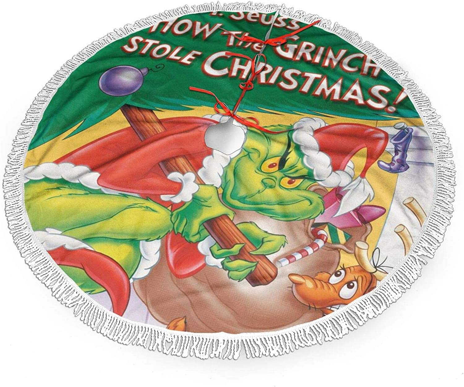OWL QUEEN How The Grinch Stole Christmas White Plush Faux Fur Christmas Tree Skirt, 36
