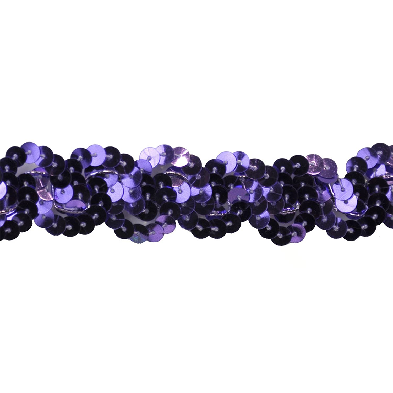 Sequin Trim 1-Inch Wide Polyester Non Stretch Rolls for Arts and Crafts Purple 10-Yard