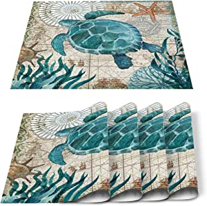 Custom Bed USA Sea Turtle Placemats 6 pcs 18