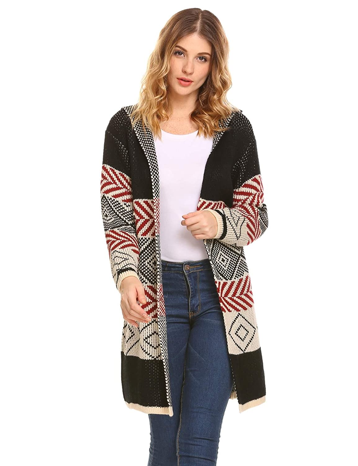16e0c536d8 Dickin Women Long Sleeve Hooded Open Front Geometric Print Knitted Sweater  Cardigan at Amazon Women s Clothing store