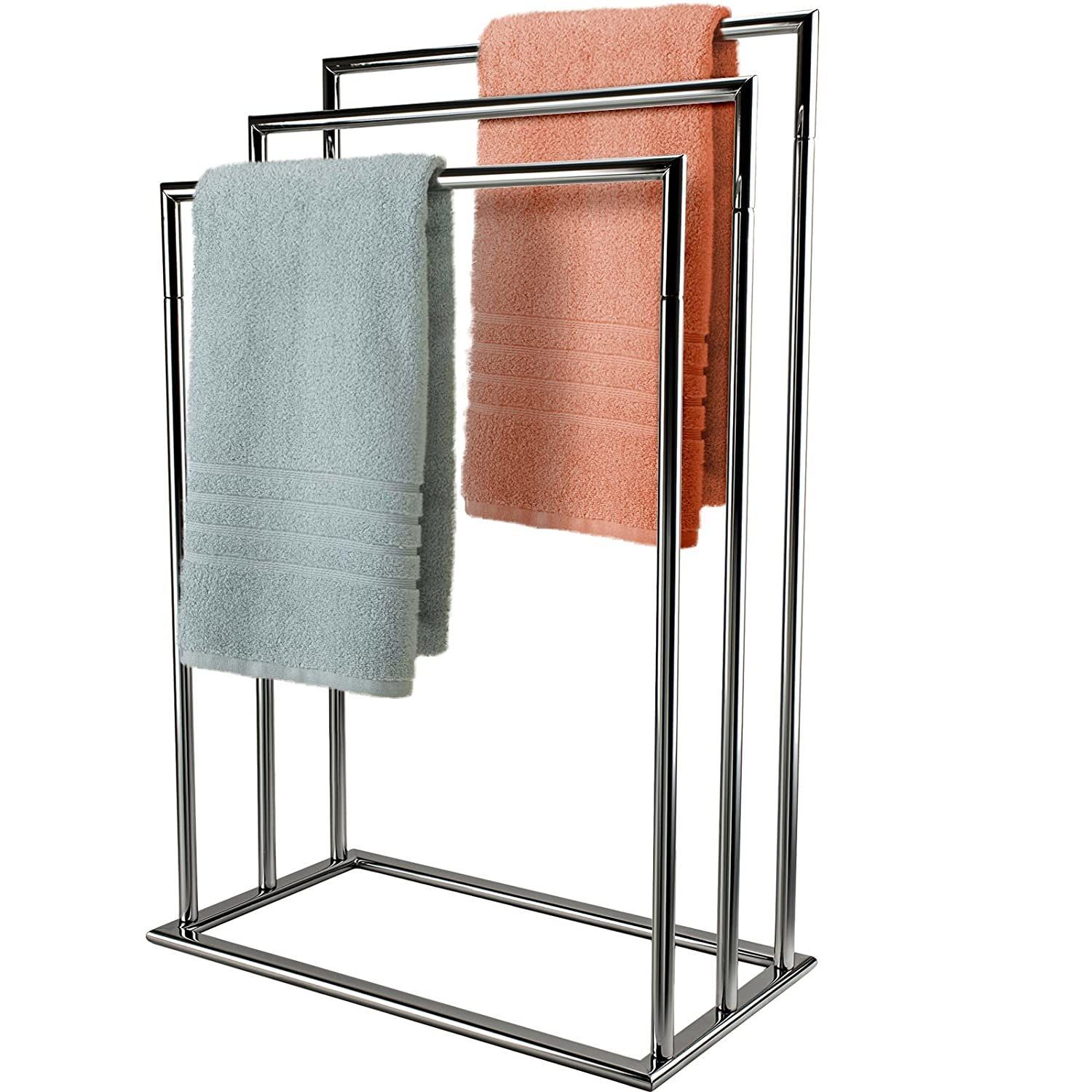 bath vida tier towel holder freestanding bathroom rail rack  - mastronics free standing  tier towel rail chrome airer drying bathroomstand