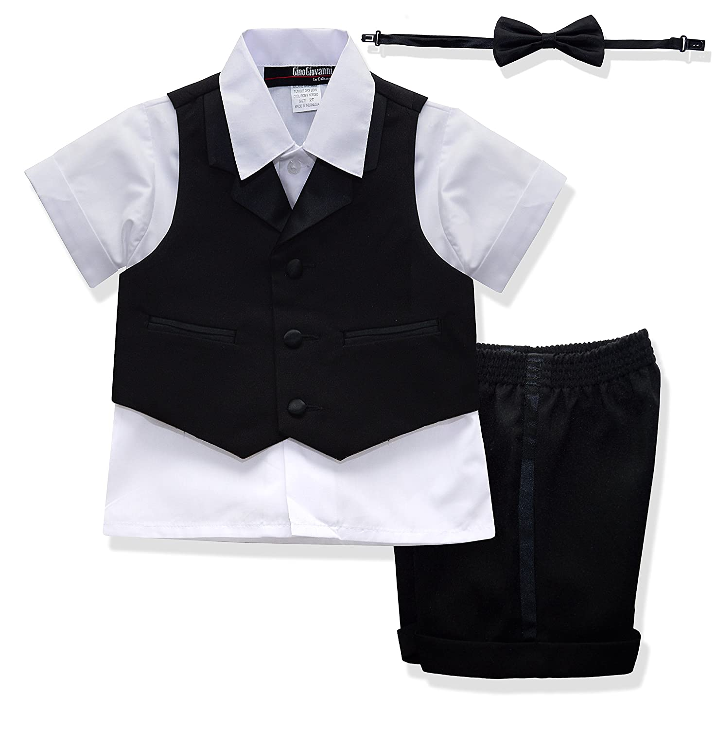 Gino Giovanni New Baby Toddler BOY Summer Tuxedo Short Set Black