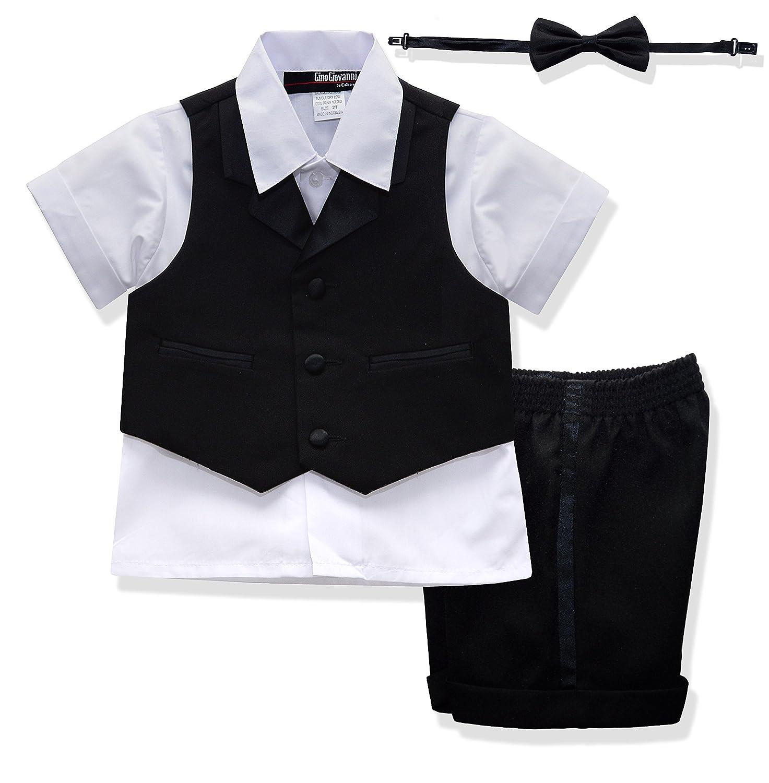 Gino Giovanni New Baby Toddler BOY Summer Tuxedo Short Set Black