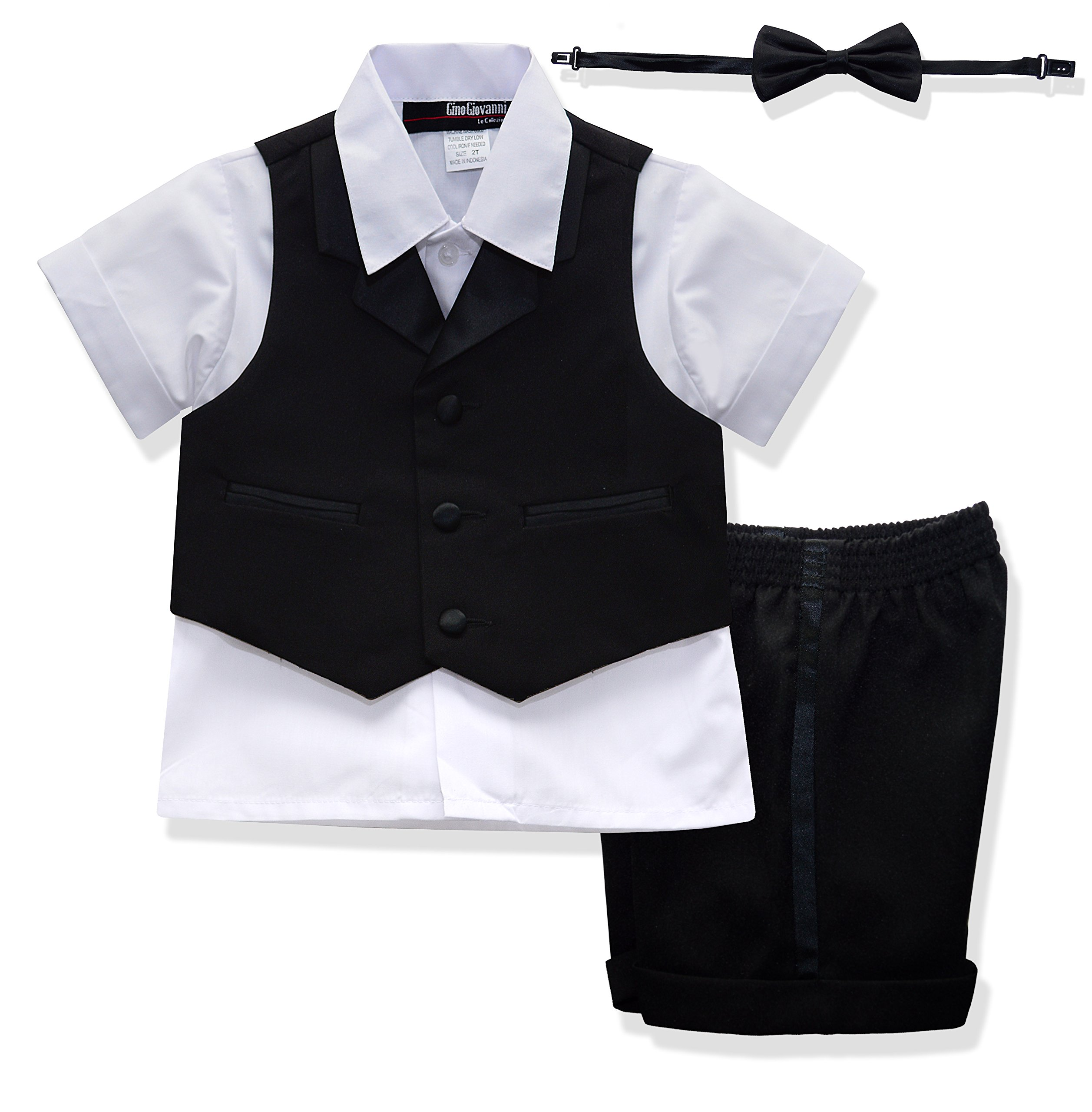 G224 BABY AND TODDLER BOY SUMMER TUXEDO SHORT SET BLACK (X-Large (18-24 months))
