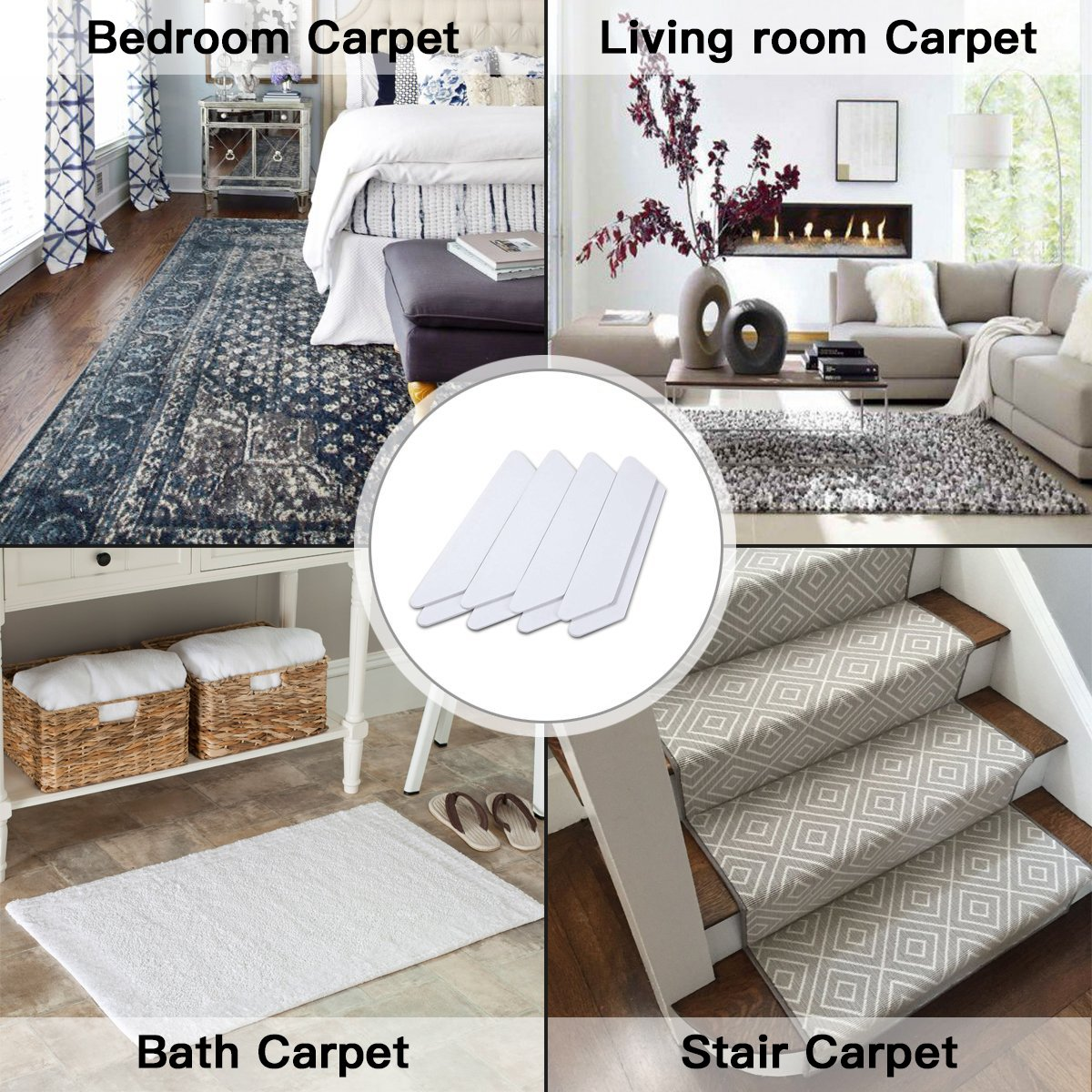 16 PCS Rug Gripper, Double Side Anti Curling & Non Slip Rug Gripper Keep Carpet Tape Stop Slipping for Outdoor / Bath / Kitchen / Round / Corner / Hardwood Floor Carpet Pads - White by drtulz (Image #7)