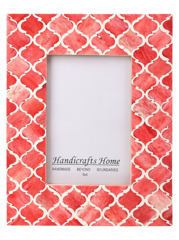 Handicrafts Home フォトフレーム ムーア風モロッコ柄 ハンドメイド ナチュラル ボーンフレーム 4x6及び5x7インチ 4x6 レッド B01M2YFG1E 4x6|レッド レッド 4x6