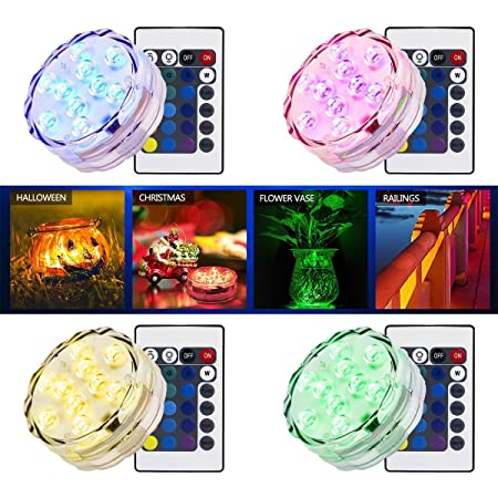 UK 10 LED Submersible Waterproof Light Candle Tea Lights with Remote Home 1//4pcs