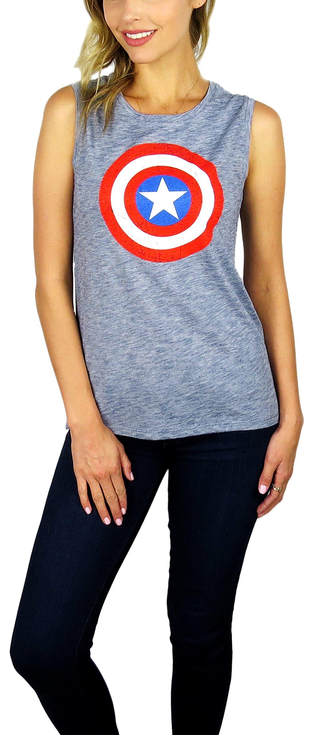 Disney Marvel Womens Captain America Sleeveless Tank Top (Navy Heather, Medium)