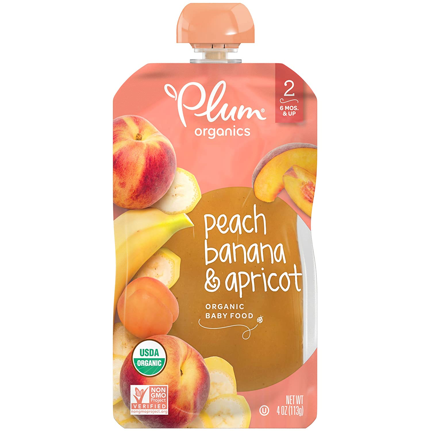 Plum Organics Stage 2, Organic Baby Food, Peach, Banana and Apricot, 4 Ounce Pouches (Pack of 12)